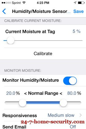 Wireless Tags moisture ranges