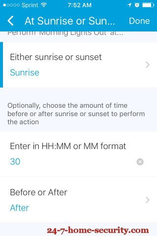 SmartThings Sunrise Changes