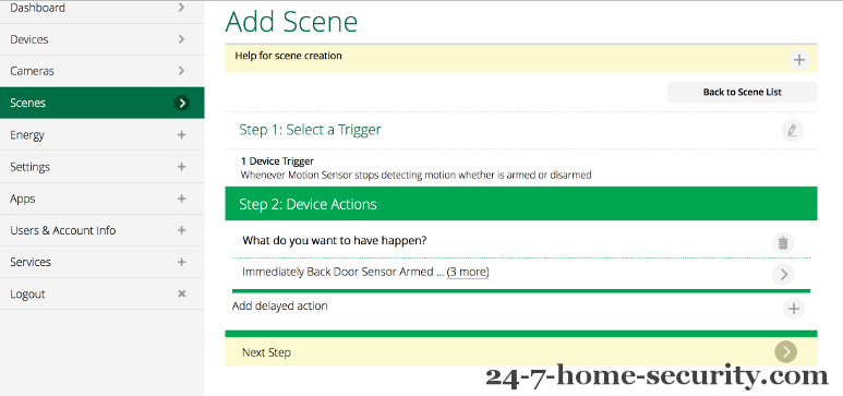 Trigger for Motion showing Add Delayed Action web