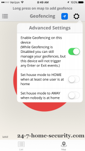 Mobile Geofence Settings web